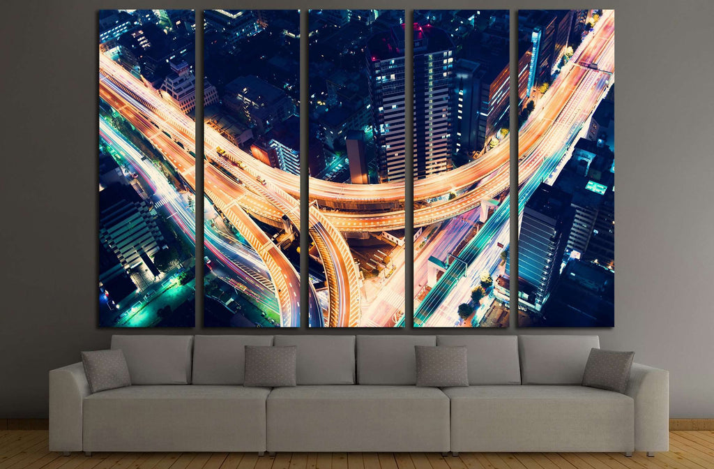Aerial view of a massive highway intersection at night in Shinjuku, Tokyo, Japan №2181 Ready to Hang Canvas Print