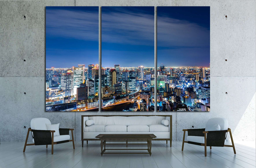 Aerial view of beautiful Osaka night city scape №2396 Ready to Hang Canvas Print
