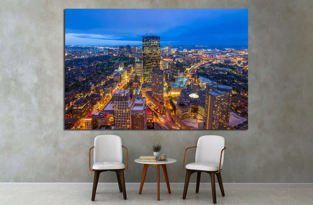 Aerial view of Boston in Massachusetts, USA №1518 - canvas print wall art by Zellart