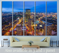 Aerial view of Boston in Massachusetts, USA №1518 Ready to Hang Canvas Print