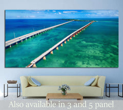Aerial view of Bridge connecting Keys, Florida №1312 - canvas print wall art by Zellart