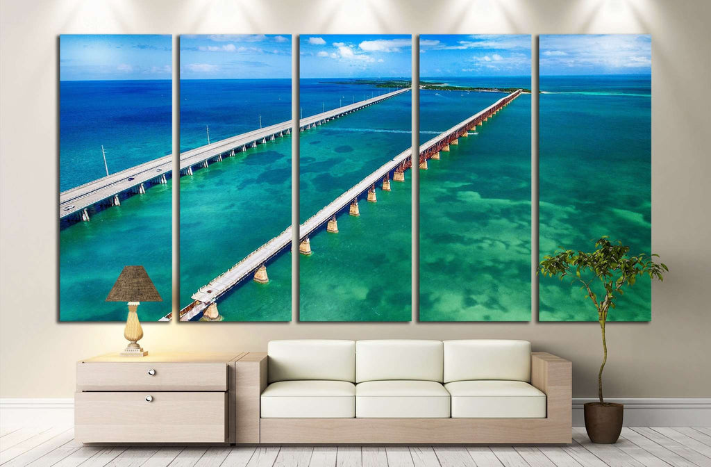 Aerial view of Bridge connecting Keys, Florida №1312 Ready to Hang Canvas Print