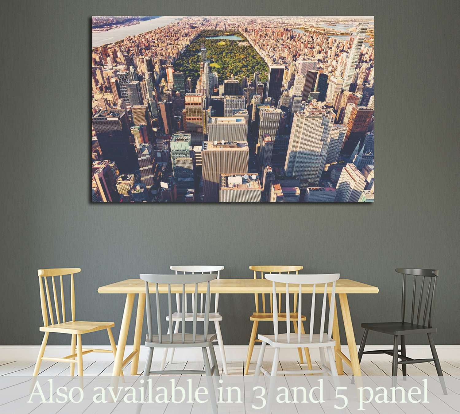 Aerial view of Central Park and Times Square, New York CIty at sunset №2216 Ready to Hang Canvas Print