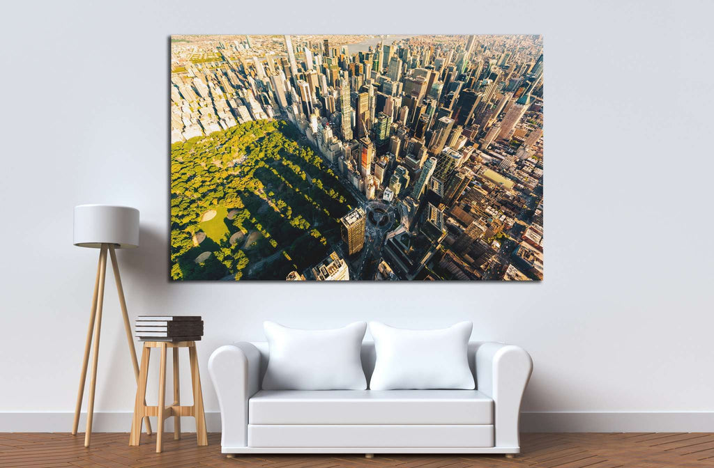 Aerial view of Central Park in New York City at sunset №1564 Ready to Hang Canvas Print