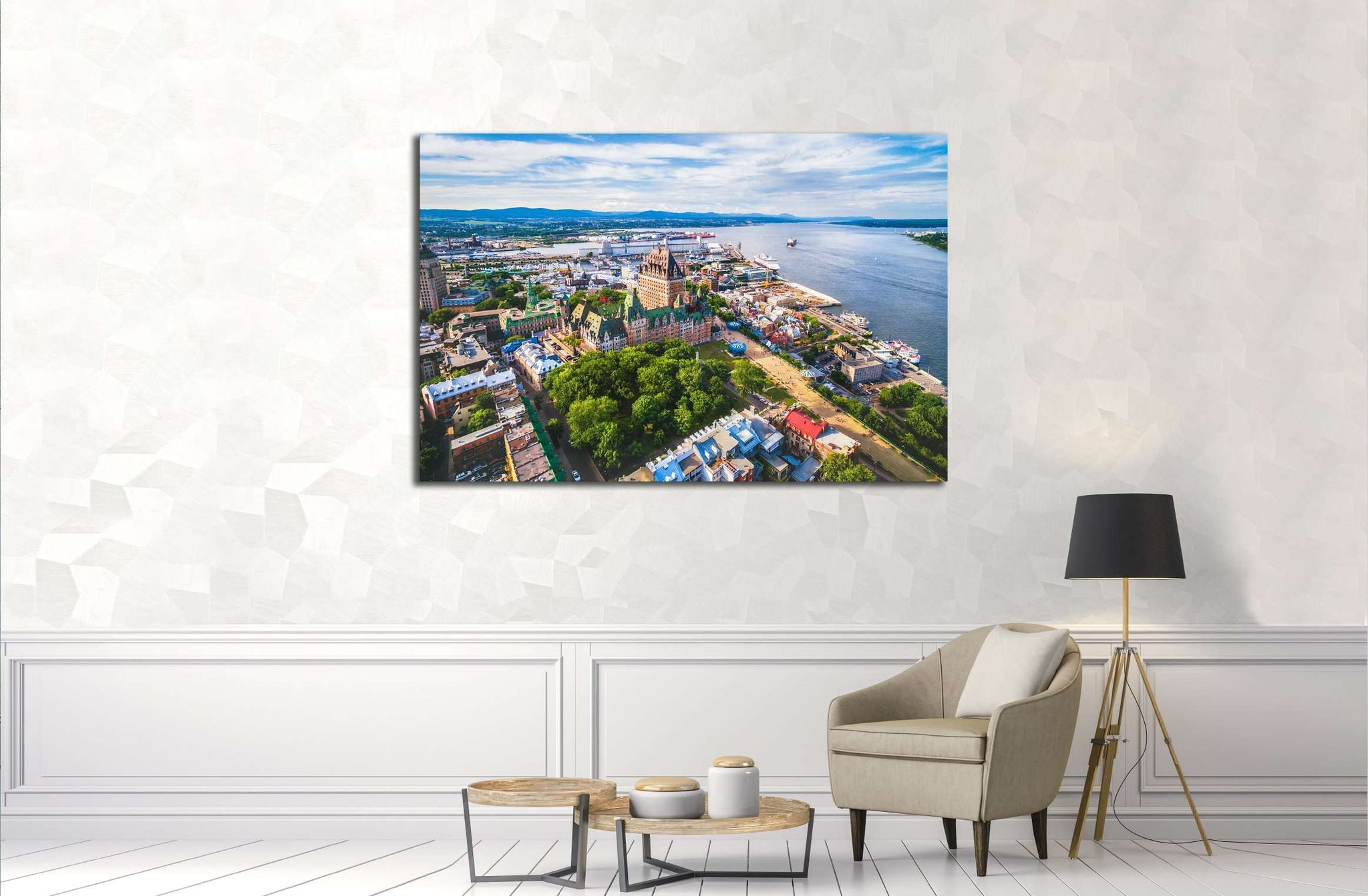 Aerial view of Chateau Frontenac hotel and Old Port in Quebec City, Canada. №2739 Ready to Hang Canvas Print