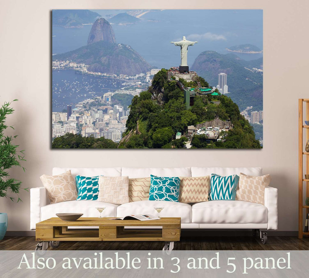 Aerial view of Christ Redeemer and Corcovado Mountain №1629 - canvas print wall art by Zellart