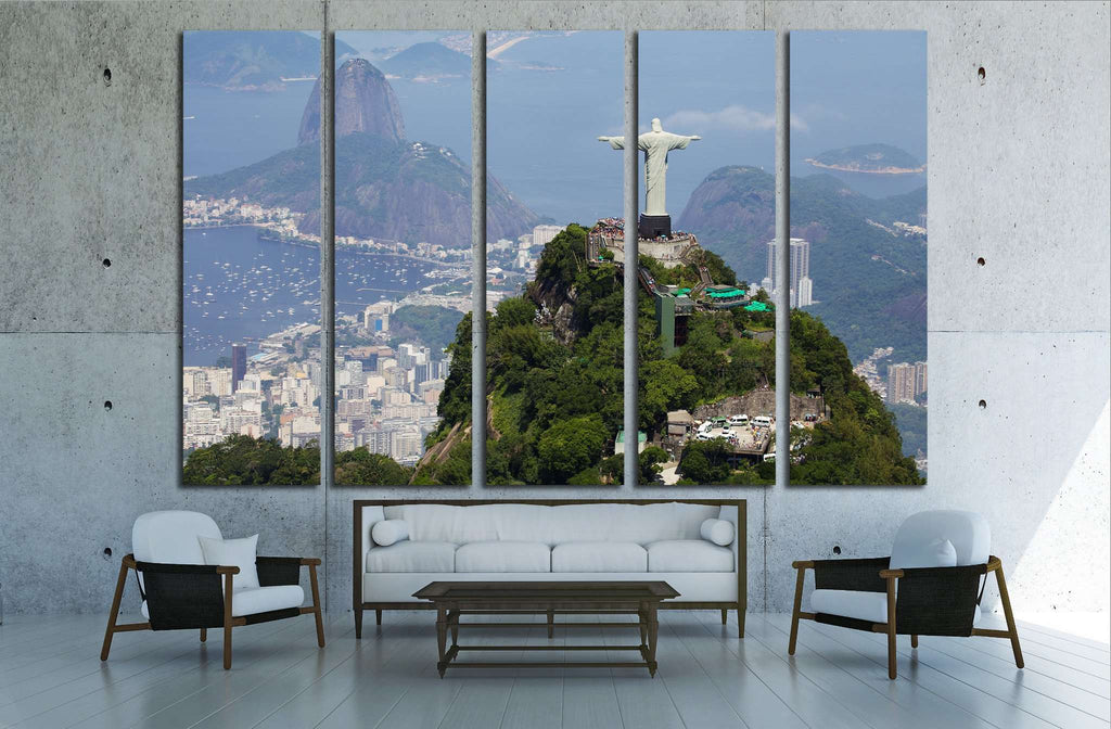 Aerial view of Christ Redeemer and Corcovado Mountain №1629 Ready to Hang Canvas Print