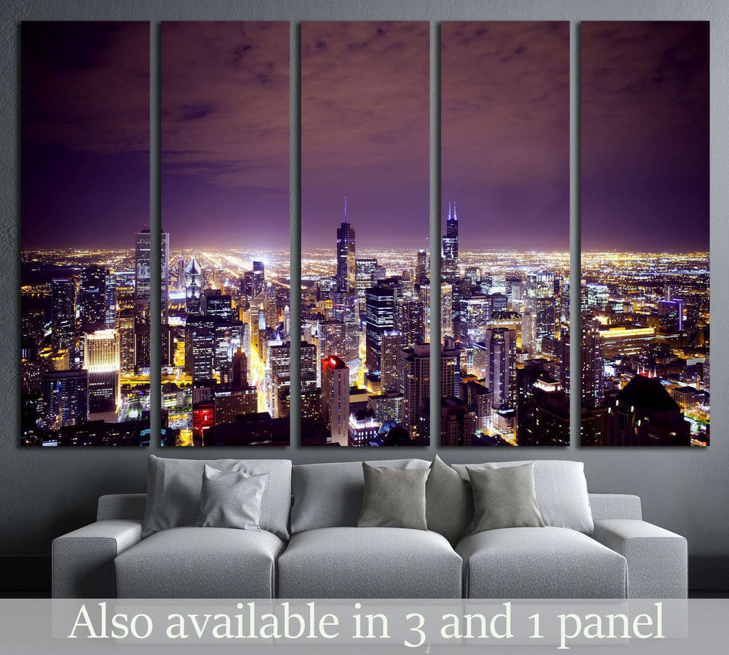 Aerial View of City Downtown №2145 Ready to Hang Canvas Print