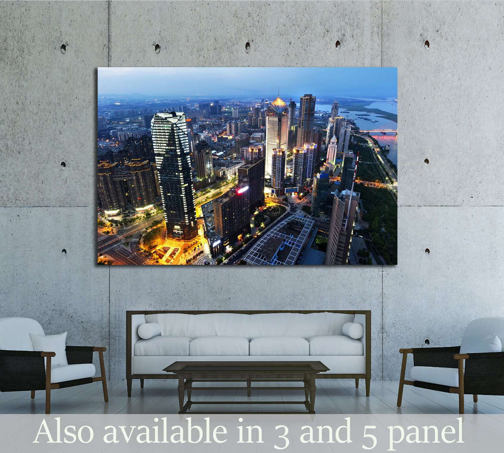Aerial view of city №2257 Ready to Hang Canvas Print