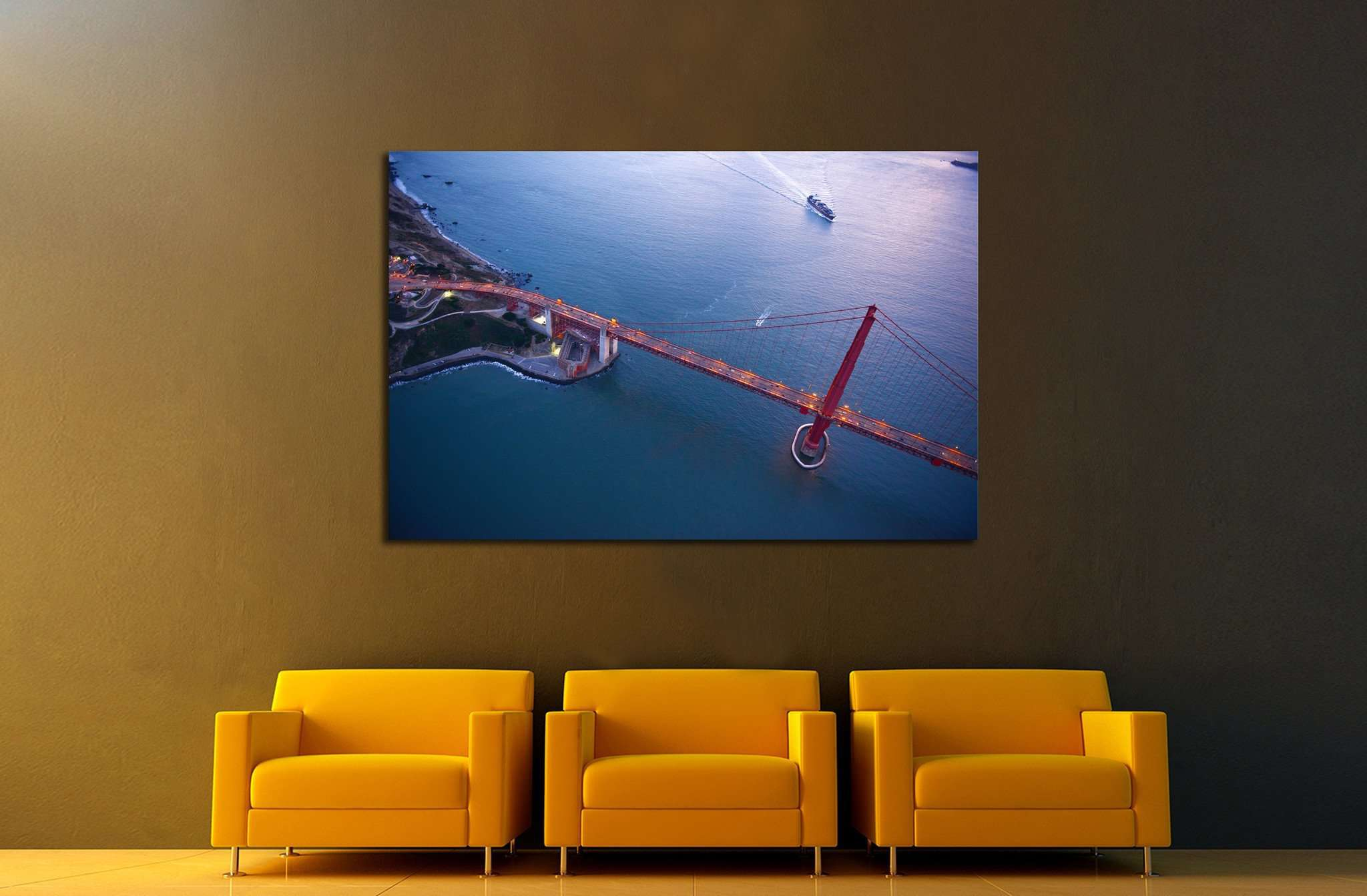 aerial view of golden gate bridge №1946 - canvas print wall art by Zellart