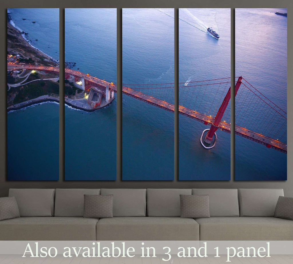 aerial view of golden gate bridge №1946 Ready to Hang Canvas Print