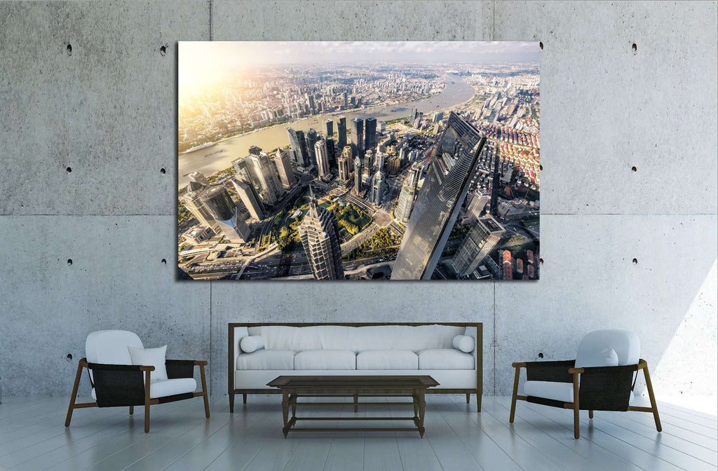 Aerial View of Lujiazui Financial District in Shanghai,China №1548 Ready to Hang Canvas Print