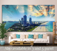 Aerial view of Miami Beach, Florida №1224 - canvas print wall art by Zellart