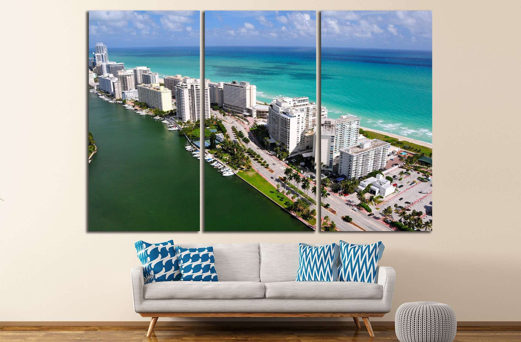Aerial view of Miami South Beach, Florida, USA №1203 Ready to Hang Canvas Print