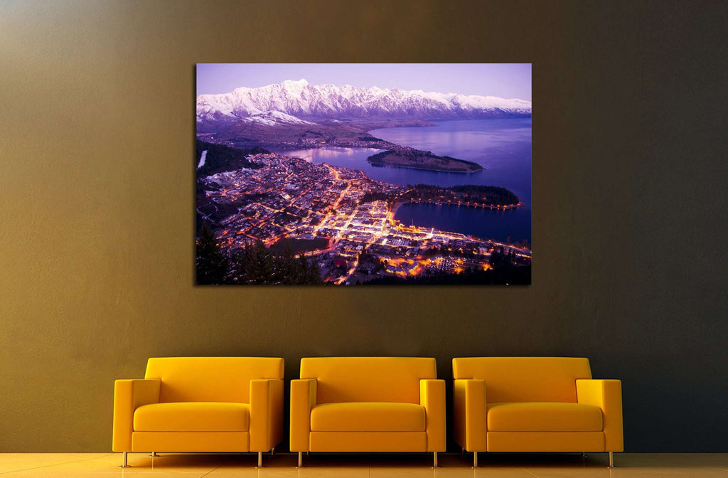 Aerial view of queenstown with city lights new zealand №2269 ready to hang canvas