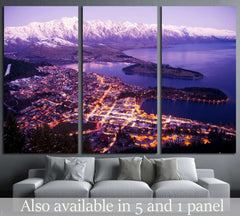 Aerial View of Queenstown with City Lights, New Zealand №2269 Ready to Hang Canvas Print