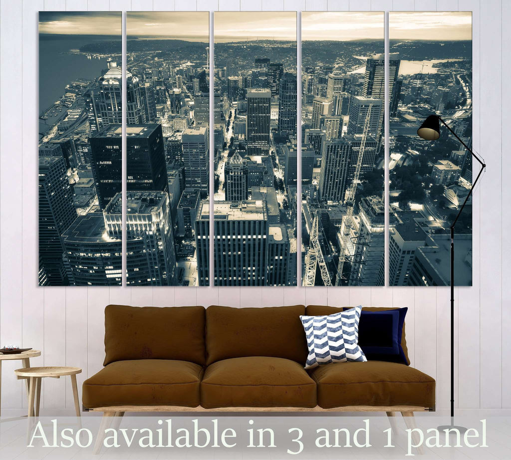 Aerial View of Seattle №3013 Ready to Hang Canvas Print