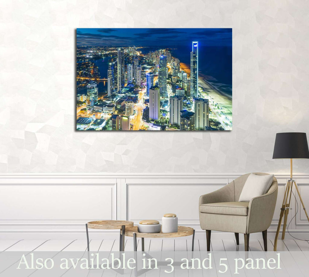 Aerial view of skyline with light trail at Gold Coast, Australia at night №2971 Ready to Hang Canvas Print