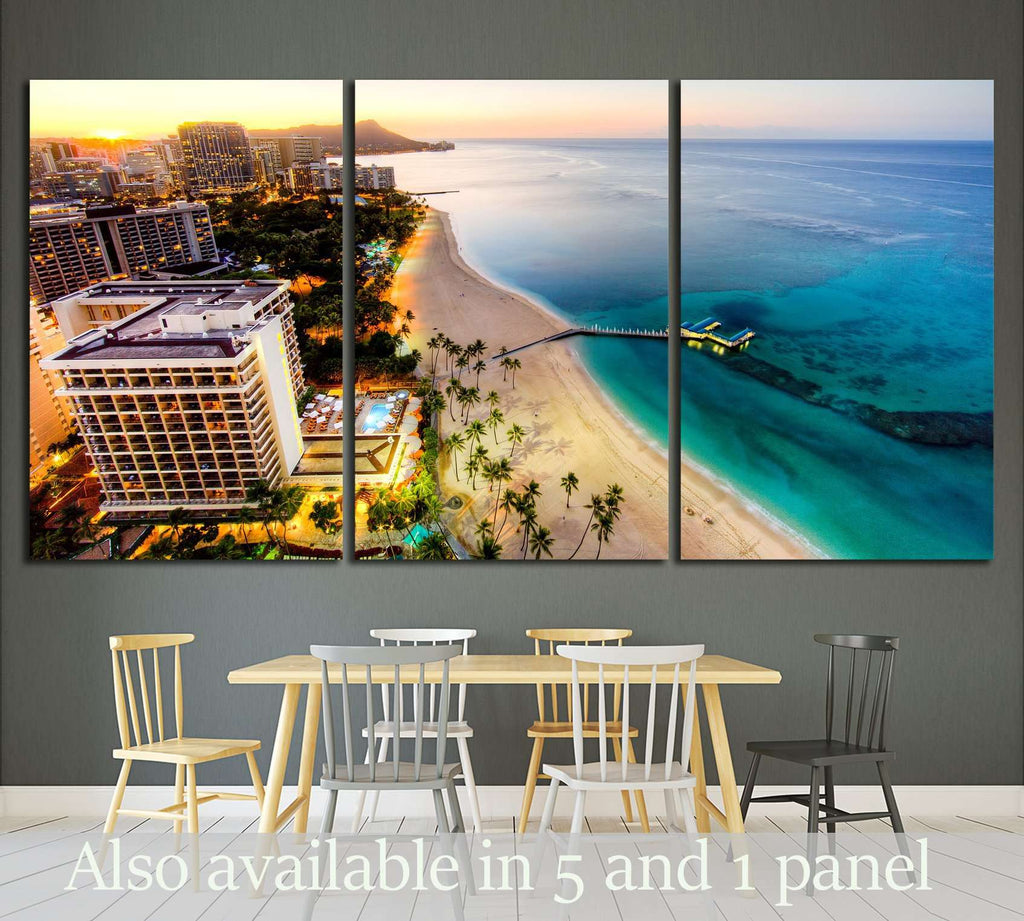 Aerial View of Sunrise at Waikiki Beach №1717 Ready to Hang Canvas Print