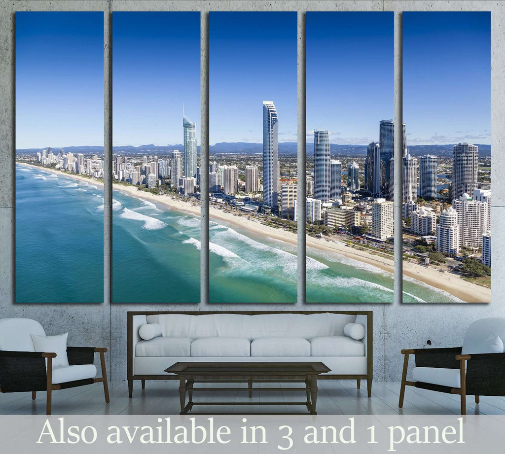 Aerial view of Surfers Paradise on the Gold Coast, Queensland, Australia №2253 Ready to Hang Canvas Print