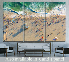 Aerial view of the beach in Santa Monica, CA №2003 Ready to Hang Canvas Print