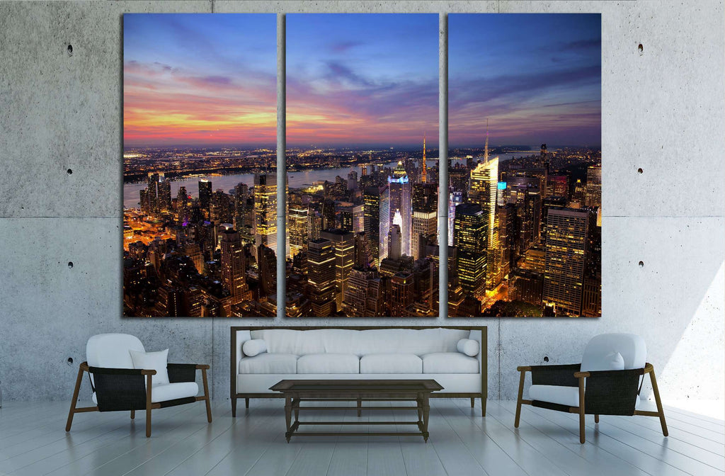 Aerial view of the New York City skyline at sunset №2651 Ready to Hang Canvas Print