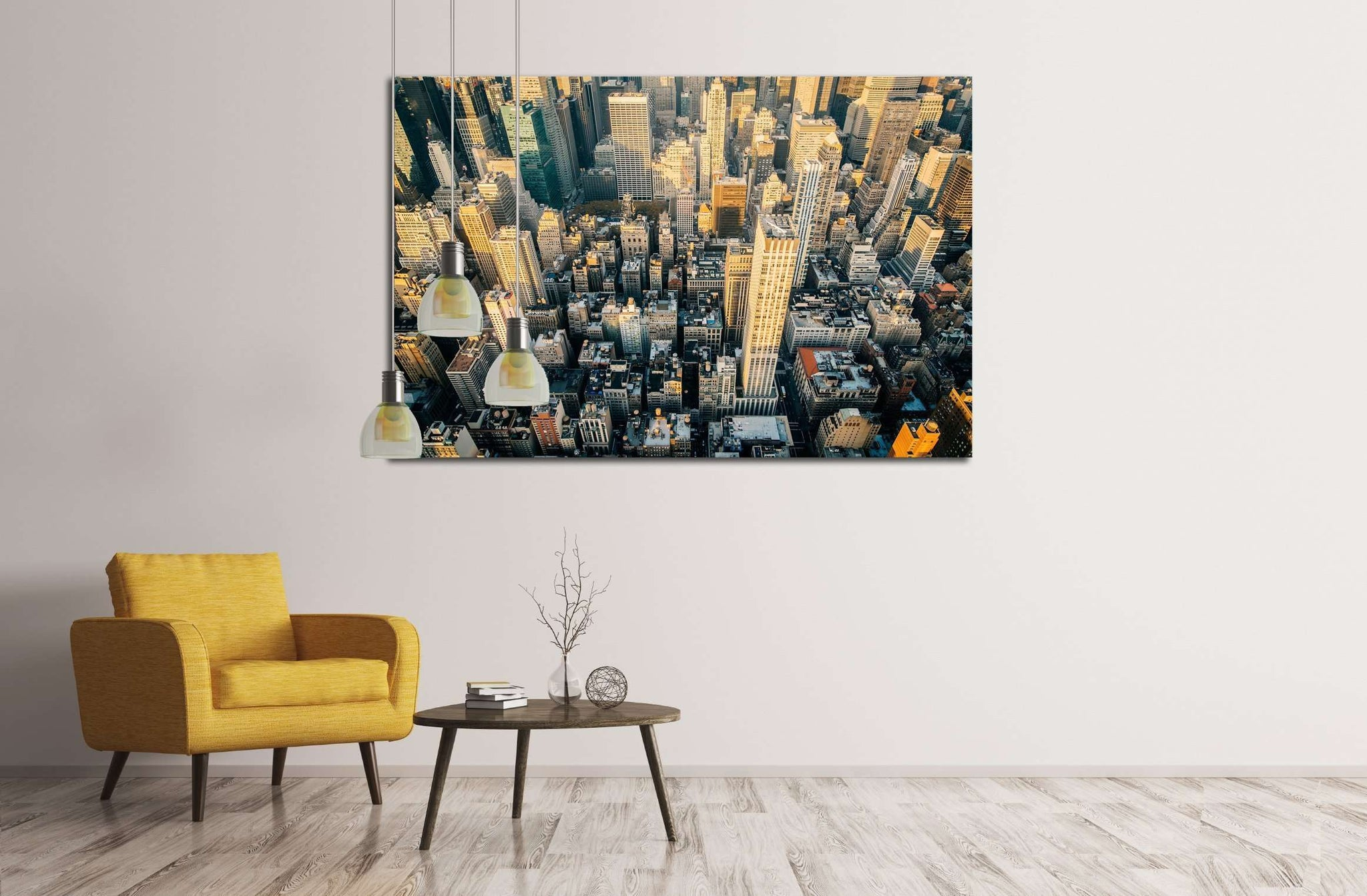 Aerial view of the New York City skyline near Midtown at sunset №2959 Ready to Hang Canvas Print