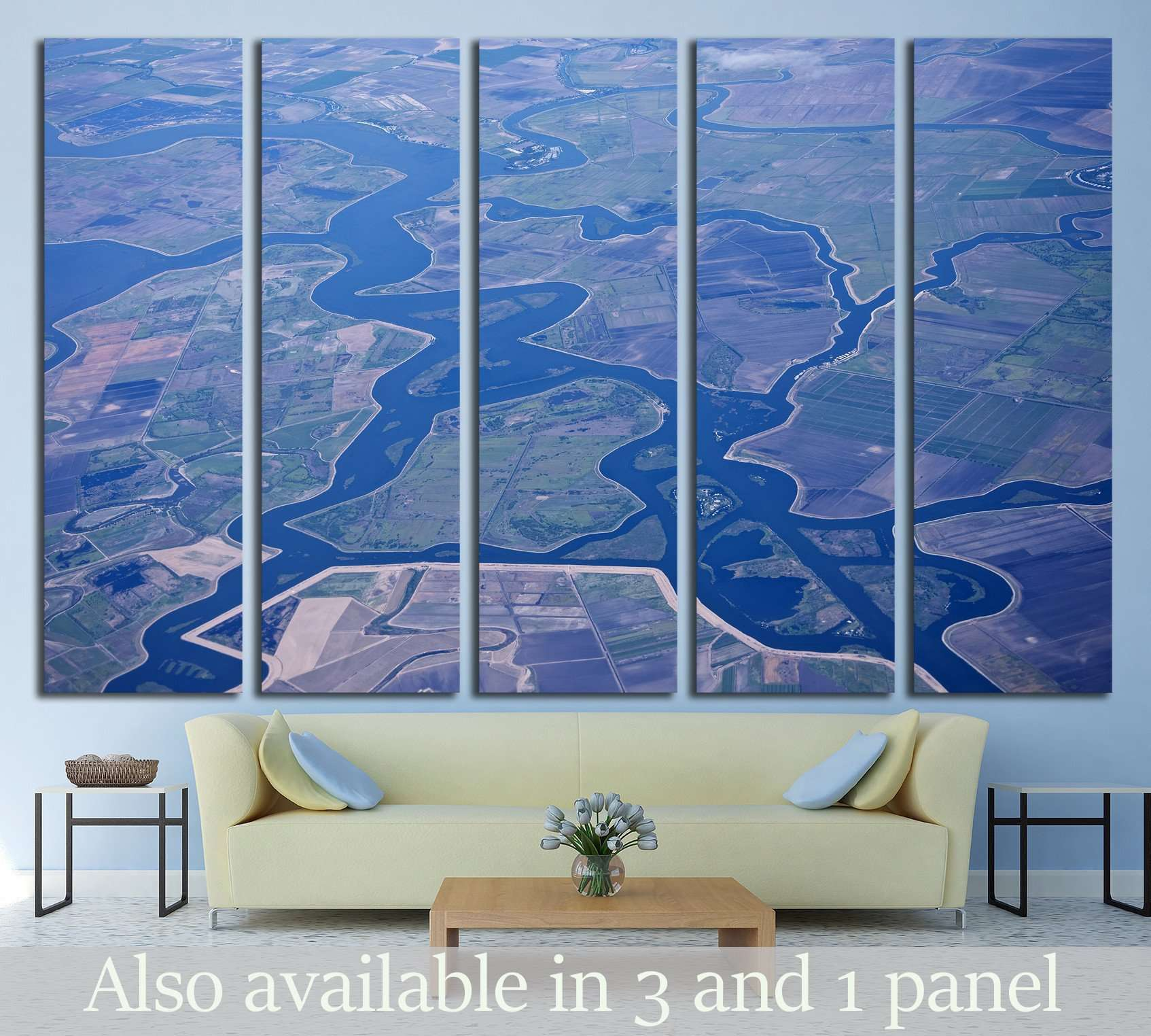 Aerial view of the Sacramento, San Joaquin River Delta, California, USA №1820 Ready to Hang Canvas Print