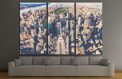 Aerial view of the skyscrapers of Midtown Manhattan New York City №2324 Ready to Hang Canvas Print