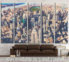 Aerial view of the skyscrapers of Midtown Manhattan New York City №2324 Framed Canvas Print