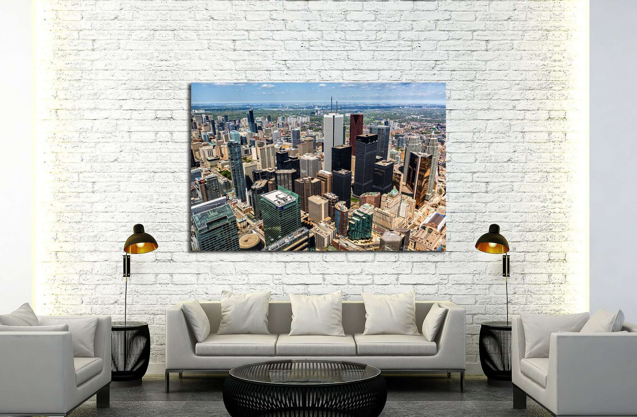 Aerial view of the Toronto skyline №2045 Ready to Hang Canvas Print