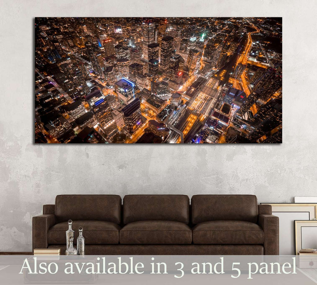Aerial view of Toronto city at night №2060 Ready to Hang Canvas Print