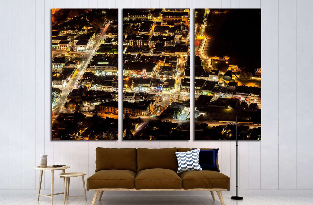 Aerial View of Transportation light trail of Queenstown, New Zealand №2255 Ready to Hang Canvas Print