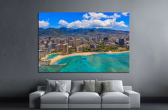 Aerial view of Waikiki Beach in Honolulu Hawaii from a helicopter №1754 Framed Canvas Print