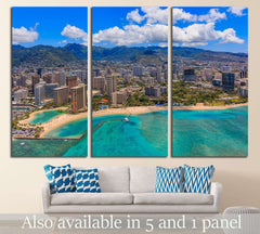 Aerial view of Waikiki Beach in Honolulu Hawaii from a helicopter №1754 Ready to Hang Canvas Print