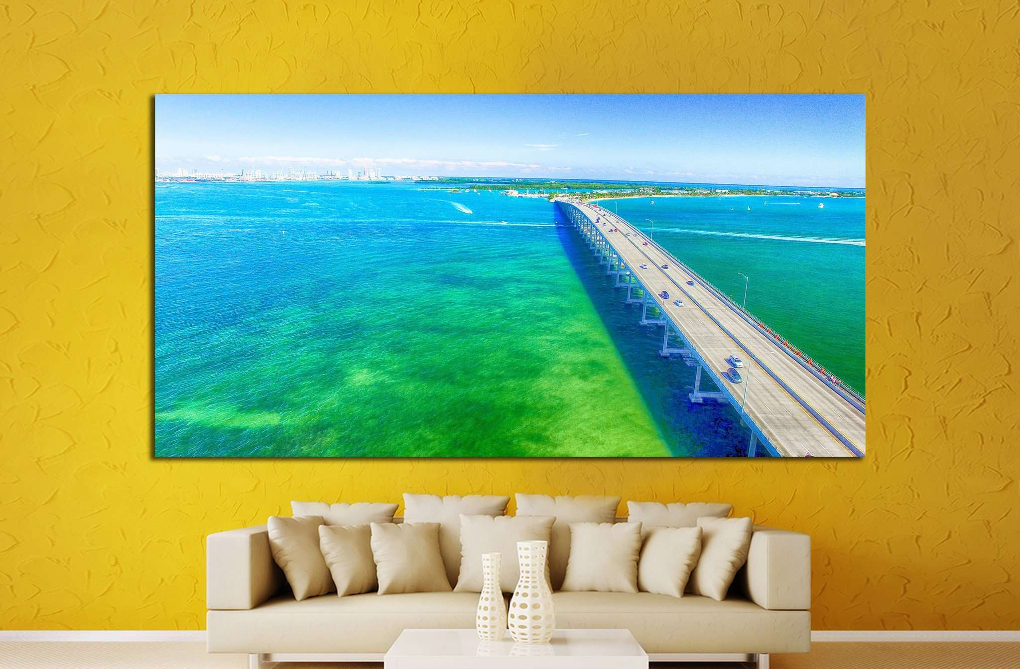 Aerial view on a sunny day in Miami №1314 - canvas print wall art by Zellart