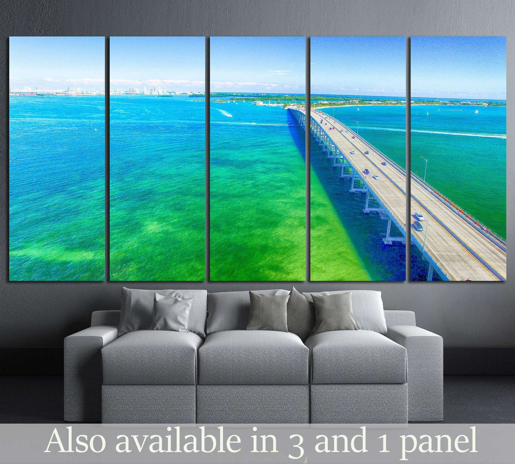 Aerial view on a sunny day in Miami №1314 Ready to Hang Canvas Print