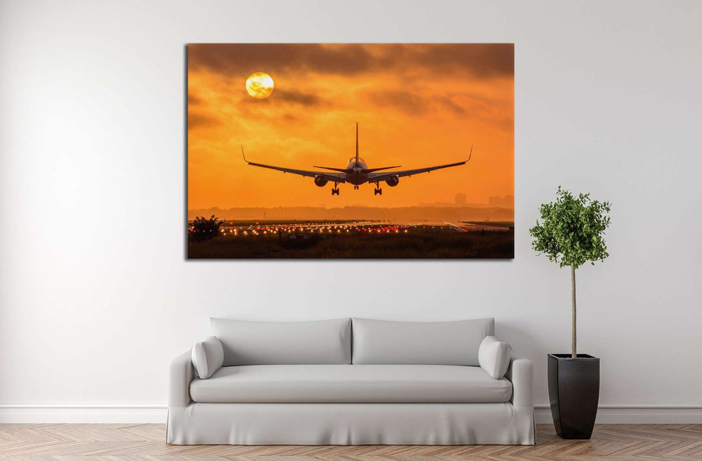 Airplane in Sunset №146 - canvas print wall art by Zellart