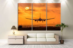 Airplane in Sunset №146 Ready to Hang Canvas Print