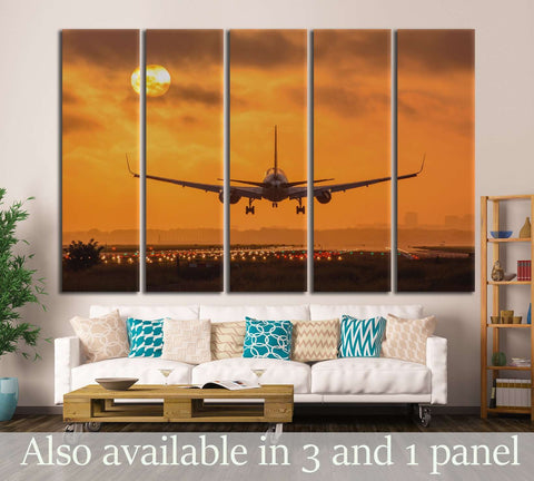 Airplane in Sunset №146 Canvas Print