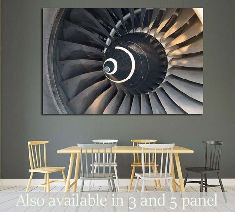 airplane turbine detail №1614 - canvas print wall art by Zellart