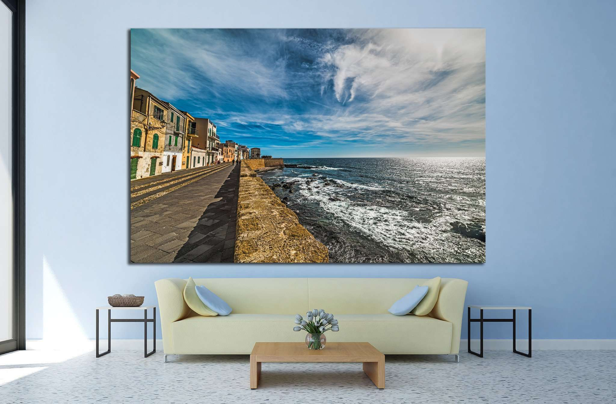 Alghero seafront under clouds, Sardinia №1300 Ready to Hang Canvas Print