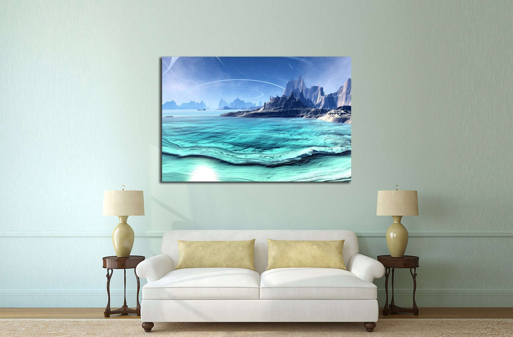 Alien Planet - 3D Rendered Computer Artwork. Rocks and lake №2934 Ready to Hang Canvas Print