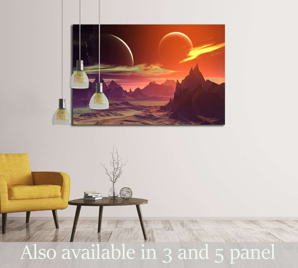 Alien Planet - 3D Rendered Computer Artwork. Rocks and moon №2933 Ready to Hang Canvas Print