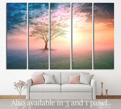 Alone tree on beautiful meadow №3161 Ready to Hang Canvas Print