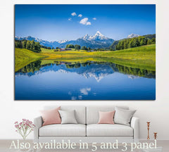 Alps with clear mountain lake №24 - canvas print wall art by Zellart