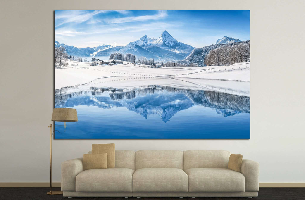 Alps with snowy mountain №23 - canvas print wall art by Zellart