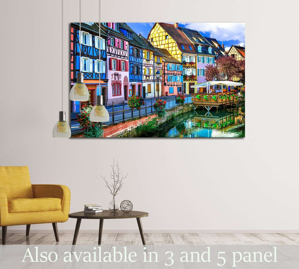 amazing beautiful places of France - colorful Colmar town in Alsace region №2400 Ready to Hang Canvas Print