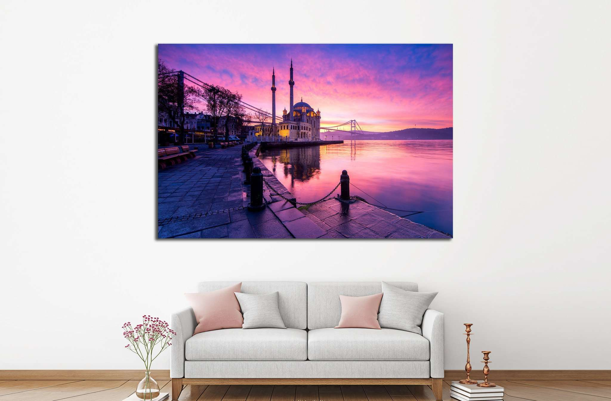 amazing sunrise at ortakoy mosque, istanbul №1302 - canvas print wall art by Zellart