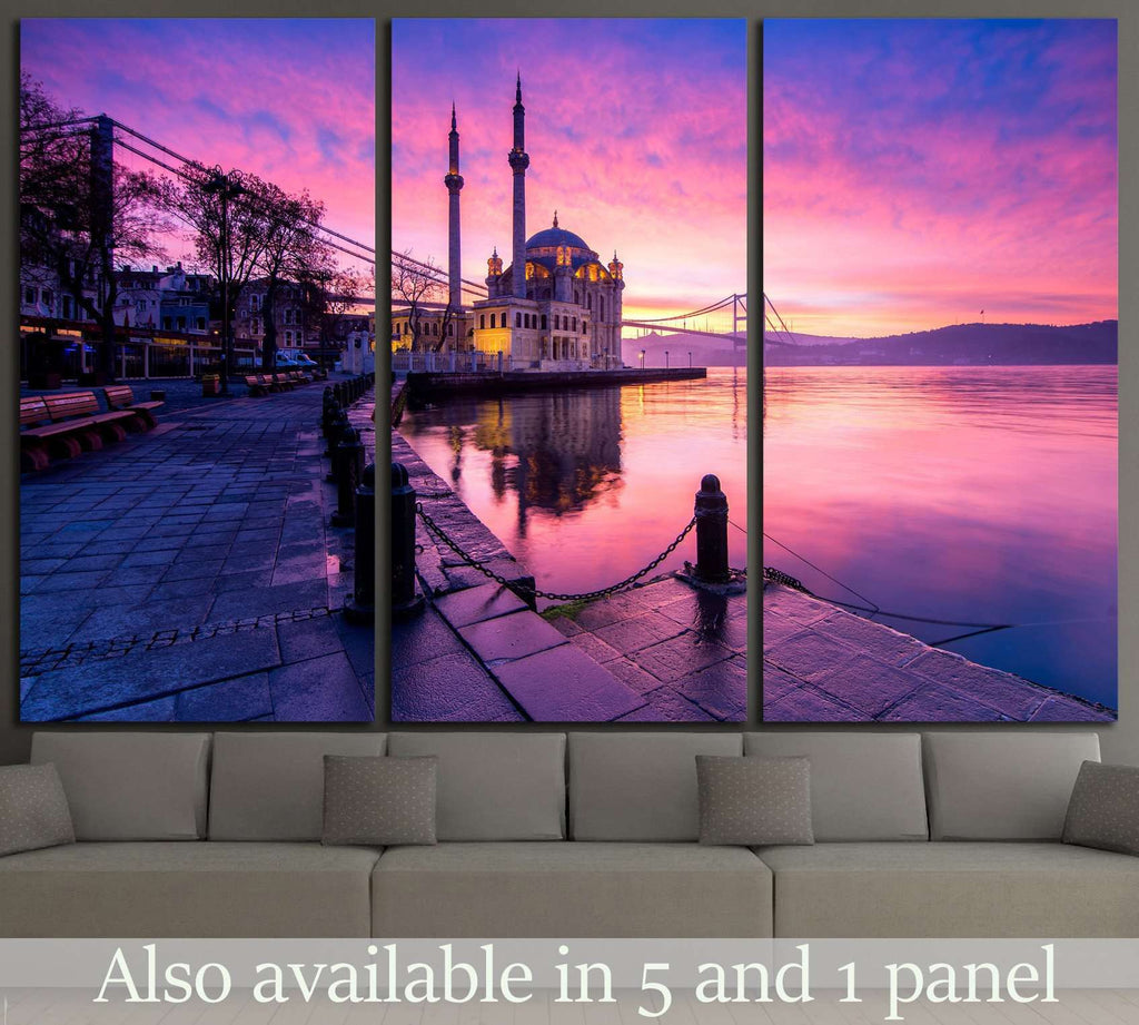 amazing sunrise at ortakoy mosque, istanbul №1302 Ready to Hang Canvas Print